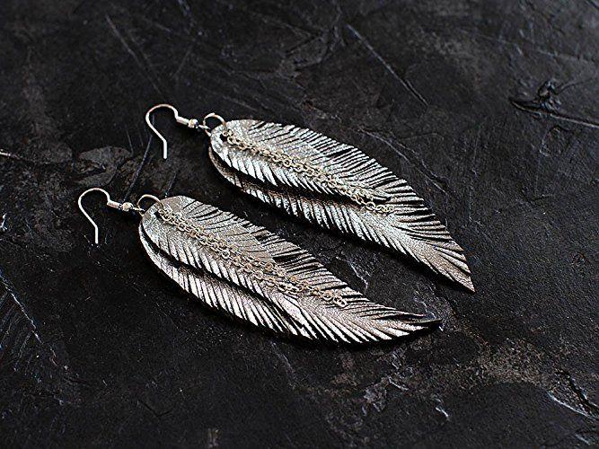 Grey Feather Leather Earrings, metallic leather #earrings #katrinshine #etsy #featherearrings #leather #handmade #tribalearrings #leatherjewelry #leatherearrings #jewelry #jewelryoftheday #bohoearrings #festivalfashion #etsyhandmade #statementearrings #handmadejewelry #jewelrygram #madewithlove #handmadeearrings  #jewelryforsale