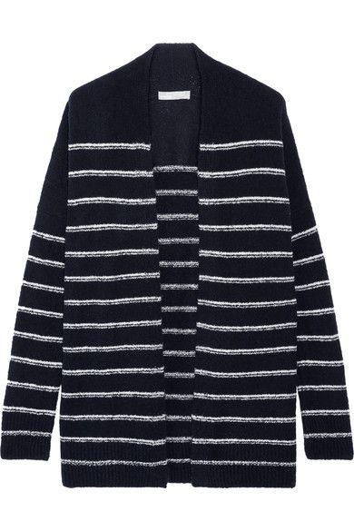 Vince - Striped Wool-blend Bouclé Cardigan - Midnight blue - x small