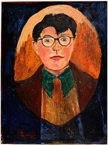 David Hockney. 'Self Portrait'. Oil on plywood. 1955.