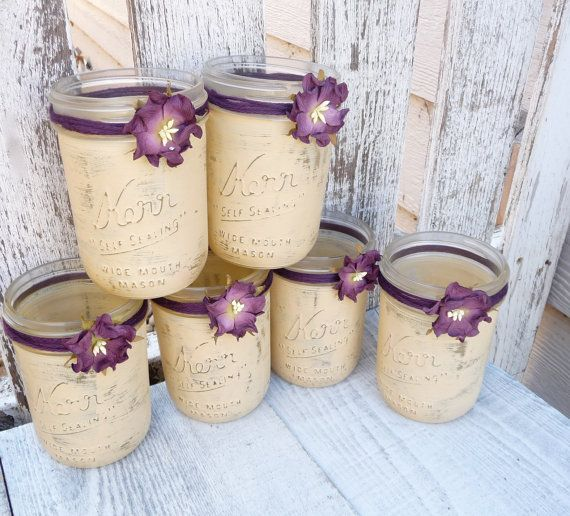 Rustic Wedding Jars - Shabby Chic Country Upcycled Mason Jar Candle Holders, Vases, Centerpieces, Decor SET OF 12 on Etsy, $79.00