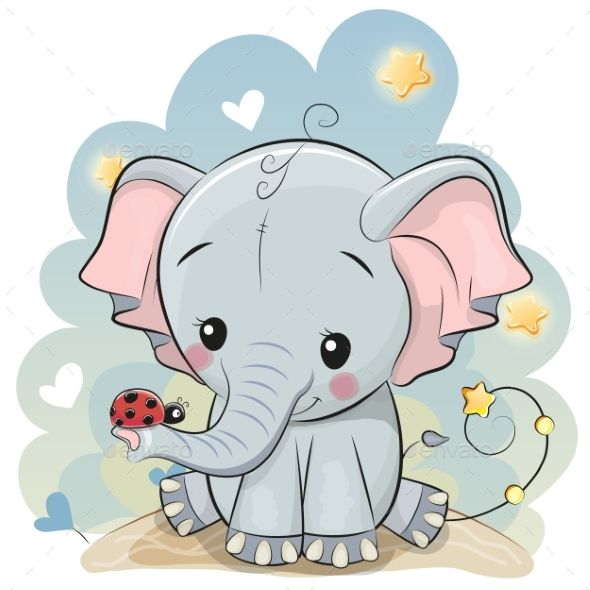 Cute Cartoon Elephant With Ladybug Cute Elephant Cartoon Cartoon Elephant Cute Cartoon