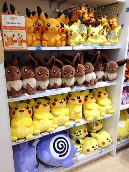 Pikachu Eevee Poliwhirl plush dolls at Pokemon Center Touhoku