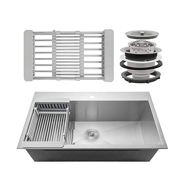 Firebird Handmade Kitchen Sink 33 Inch Top Mount Single Bowl Stainless Steel 33 X 22 X 9 Combo With Drying Rack Amp Sink Drain Top Mount Kitchen Sink Stainless Steel Kitchen Sink Drop