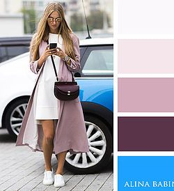 Dusty pink, dark burgundy and bright blue