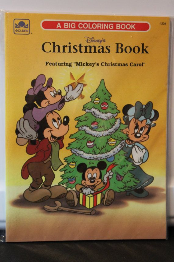 "Fantastic Vintage Disney's Christmas Book Featuring ""Mickey's Christmas Carol"" Big Coloring Book - GOLDEN #1239"