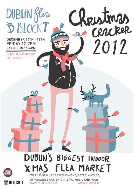 Cute flea market design poster featuring the dublin flea market
