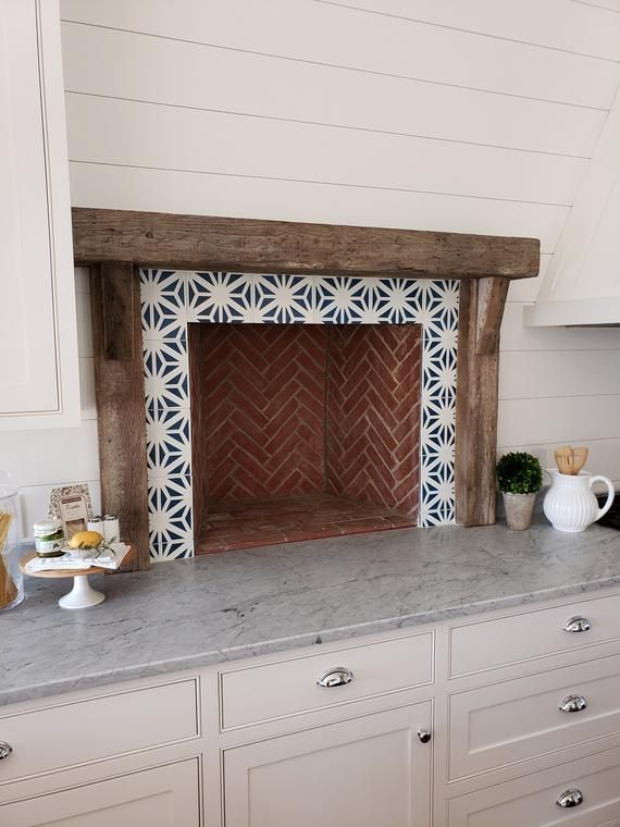 Estrella Cement Tile Etsy Cement Tiles Kitchen Cement Tile Fireplace Tile Surround