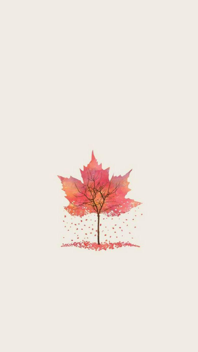 Autumn Tree Leaf Shape Illustration  #iPhone #5s #wallpaper