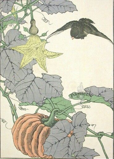 Kurohiwa - Fall. Keinan Kacho Gafu, or Bird and Flower Albums by Imao Keinen (1845-1924). Japanese Shin Hanga prints | pateek.com.