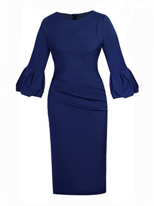 Bell Sleeve Plain Bodycon Dress