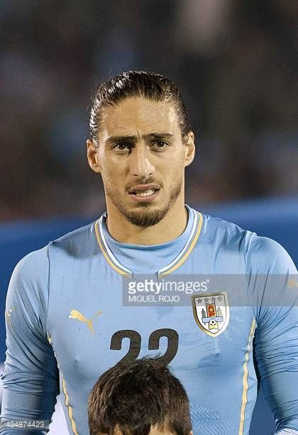 Uruguayan Martin Caceres looks on before a friendly football match against Northern Ireland on May 30 2014 at the Centenario Stadium in Montevideo...