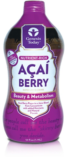"They don't call it the ""beauty berry"" for nothing! Harvested from the Brazilian rainforests, açaí berries are packed with antioxidants that support healthy skin, hair, and nails. Anthocyanins and flavonoids neutralize free radicals and aid in detoxification of the body. Açaí berries have also been known to provide natural energy support. How delicious is that? This açaí juice contains 1/3 less calories and 40% less natural sugars than our classic Açaí Berry juice.*"