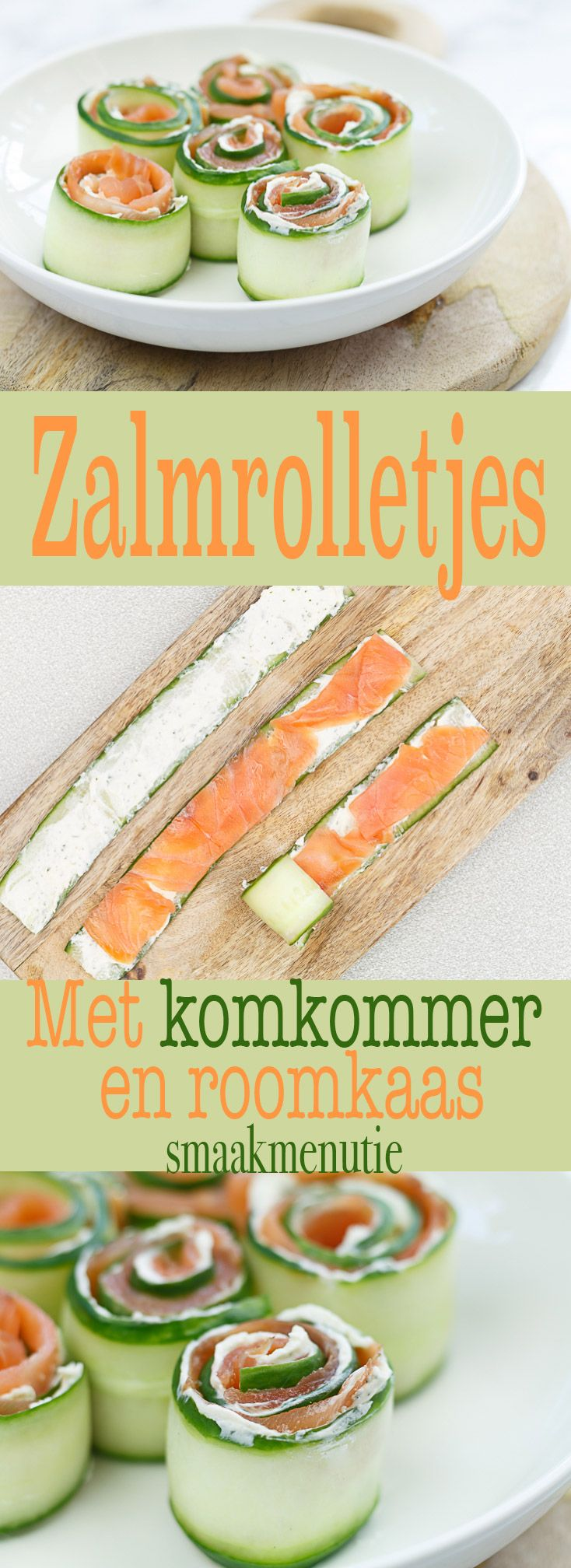 Zalmrolletjes met komkommer en roomkaas #recept #recipe #zalm #borrelhapjes #aperitivo #salmon