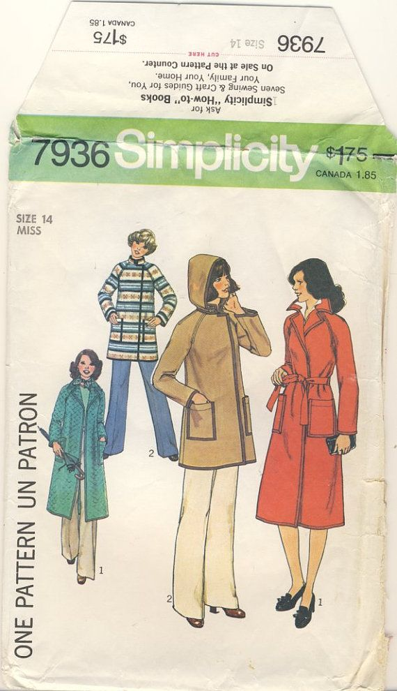 Simplicity 7936 Vintage 1977 Misses Unlined by susanbeingsnippy