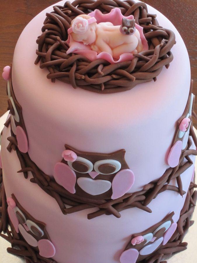 Owl Baby Shower Cake - Owl cake