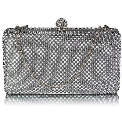 silver CLUTCH BAG diamante crystal chain 278 purse hard case WEDDING EVENING