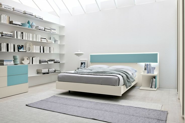 Frassino Bianco, Azzurro Nettuno Sunset Bed | ColombiniCasa