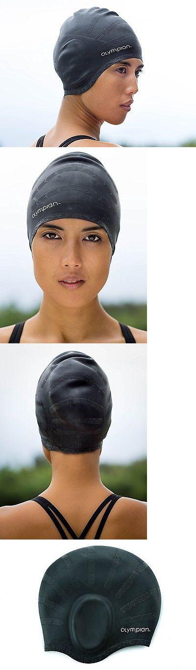 Swim Caps 117162: Olympian Athletics Hypoallergenic Swim Cap For Long Hair - Black BUY IT NOW ONLY: $32.08