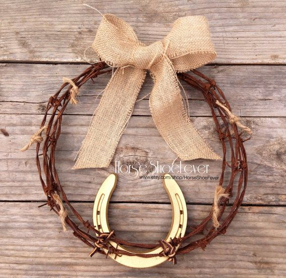 $39.99 © Old Sunshine. Horseshoe Barbwire Wreath. Western Home Decor, Rustic, Vintage, Barbwire, Horses, Fall, Weddings, Country, Wall Art, Ranch, Horse, Horses, Cowgirl. By HorseShoeFever. Etsy.