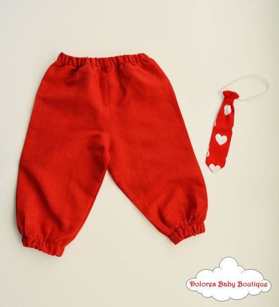 Boy Outfit Red Boy Pants Boy Tie linen by DoloresBabyBoutique