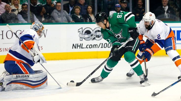 Islanders vs. Stars:  March 2, 2017  -  The Islanders beat the Dallas Stars, 5-4, on Thursday night at American Airlines Center in Dallas:  By NEWSDAY.COM  -     Dallas Stars right wing Ales Hemsky (83) looks for a shot on New York Islanders goalie Thomas Greiss (1) during the first period on Thursday, March 2, 2017 at the American Airlines Center in Dallas, Texas.