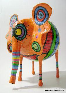 Opa! objetos de papel maché y cartapesta: Elefante patalarga