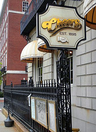 Cheers Bar... Boston Massachusetts... you have to go down the stairs to enter... Visited with Brian 1992