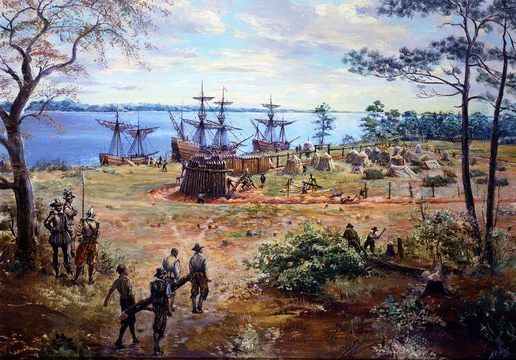 Le 14 mai 1607, 3 navires anglais accostent dans la Baie du Chesapeake (Susan Constant, Godspeed et Discovery). Les précédents explorateurs avaient appelé cet endroit la Virginie. C'est une centaine d'hommes sous le commandement de John Smith qui construiront le fort de Jamestown. Les premières années seront difficiles à cause de la famine, les maladies et de nombreuses attaques amérindiennes. Cependant la colonie survivra et deviendra la première présence anglaise permanente en Amérique.
