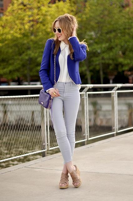 blazer: Silver Studs, Fashion Style, Eating Sleep Wear, Blue Blazers, Royals Blue, Fashion Blog, New York Fashion, Electric Blue, Blazers Outfits