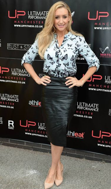 Celebrities In Leather: Catherine Tyldesley wears a black leather skirt