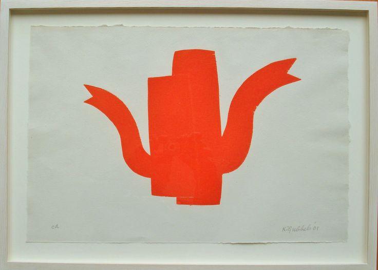 Klaas Gubbels - Houtdruk Orange Twins Excellent Art