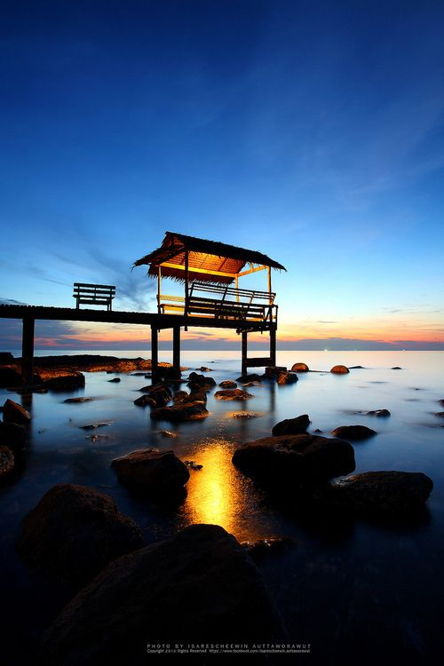 Sunset over the beach, island Koh Kood, Thailand (by...