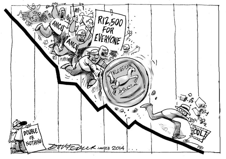 The latest Business Report cartoon highlights the impact that the strike by Association of Mineworkers and Construction Union in the platinum sector is having on the rand exchange rate.