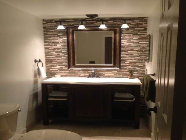Pic On Bright Track Lamps above Oak Vanity and White Sink near Simple Bathroom Paint Ideas