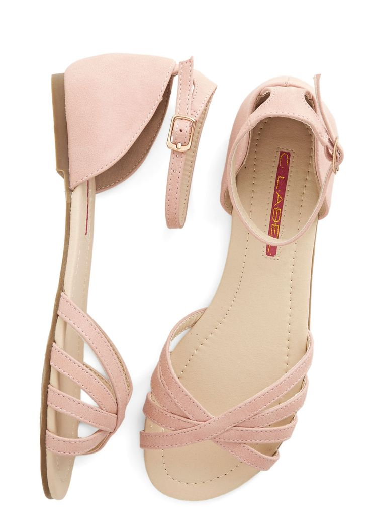 Anywhere You Rome Sandal in Pink. Take in the centuries-old treasures of Italys capital while feeling magnifico in these pale-pink sandals! #pink #modcloth
