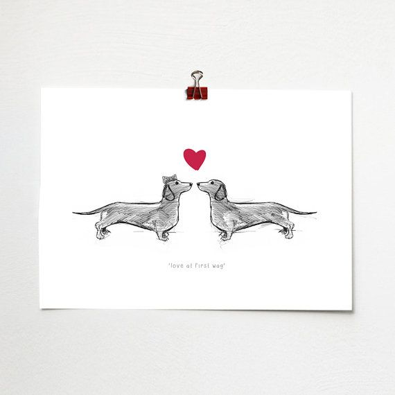 Love At First Wag  Sausage Dogs Print   A4 poster by BJEartshop, £10.00