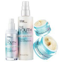 The Youth Complete Collection by Bliss. $163.80. recreate our spa's the youth as we know it facial with this deluxe spa-at-home 'all-out' setWant to 'glow' all the way and perform a pro-quality age-fighting treatment at your own sink? Then cover all your time-erasing bases with every product from our The Youth As We Know It regimen, featuring 10 'clock'-stopping ingredients that deliver every youth-inducing benefit in the book.Includes:• bliss the youth as we k...
