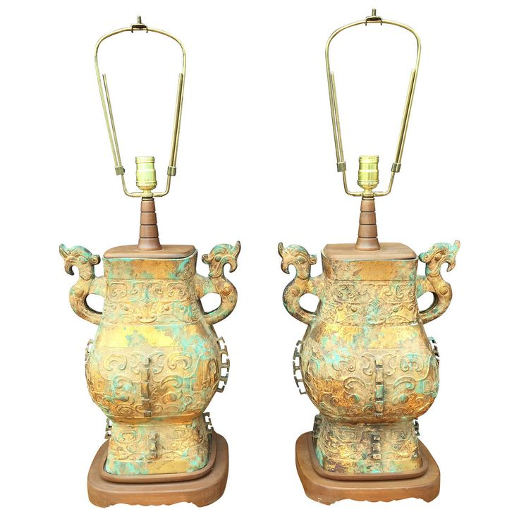 Verdigris Pair of Asian Table Lamps in the Manner of James Mont