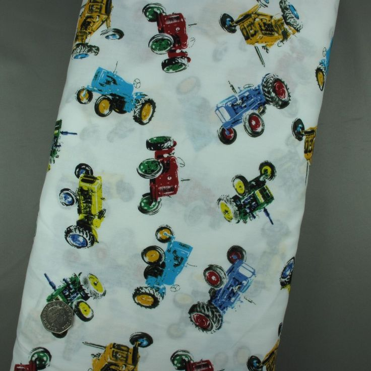 100% Cotton Fabric Vintage Tractors Print on White - Sold per metre