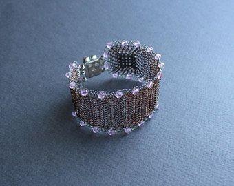 Bracciale - Bracciale all'uncinetto filo di rame e argento con cristalli rosa - elegante pizzo unico delicato bracciale alla schiava. Su ordinazione