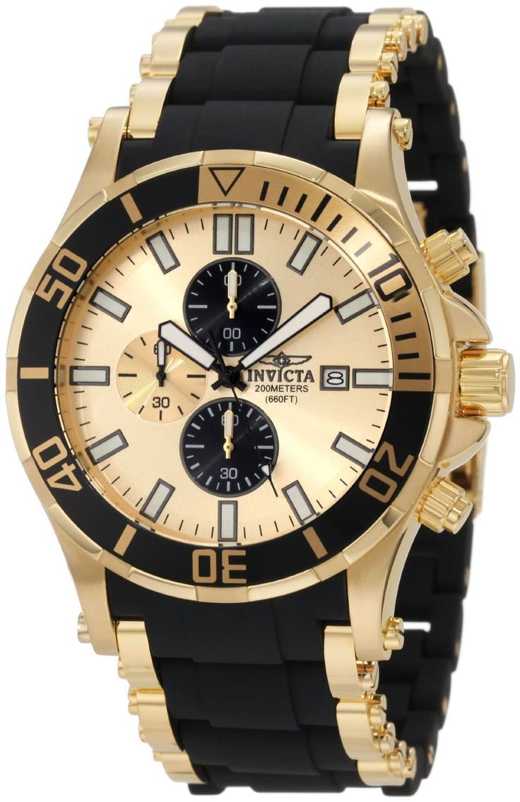 Invicta watches : Invicta Mens 1478 Sea Spider Chronograph Gold Dial Black Polyurethane Watch | Raddest Men's Fashion Looks On The Internet: http://www.raddestlooks.org