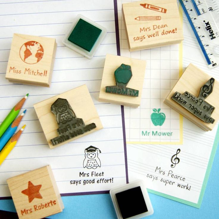 I've just found Personalised Teacher Rubber Stamp Gift. Personalised rubber stamp for teachers in 8 designs by Skull and Cross Buns.. £14.00