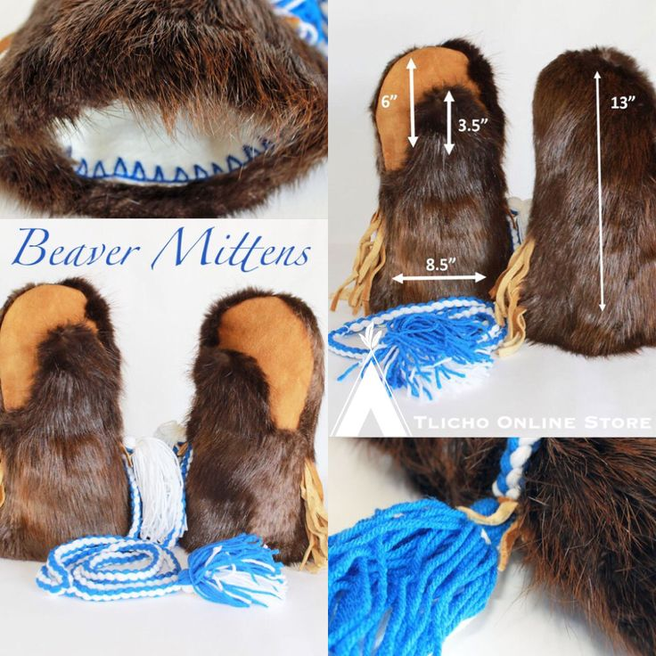 #Beaver fur #mittens with Stroud lining made in #Behchoko, #Tlicho region now available on http://onlinestore.tlicho.ca