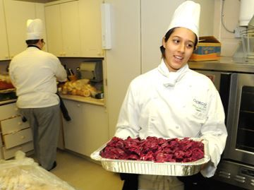 Georgian College cooks up support for David Busby Centre in Barrie - Marisol Madris, a first year student in the program, served up a beet salad.