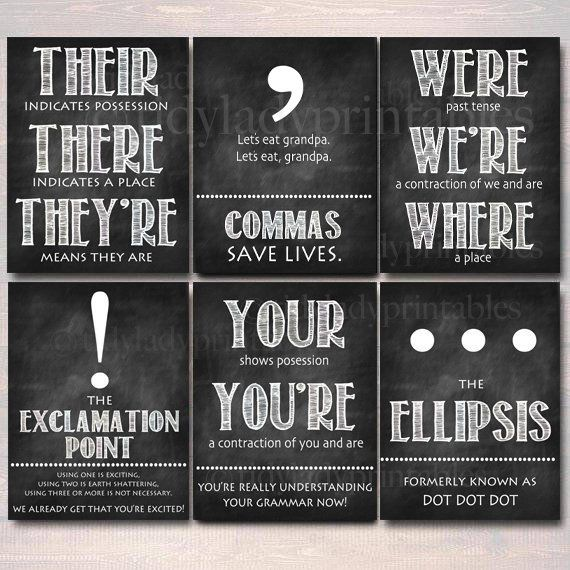Set of eight English Grammar Punctuation Posters, Classroom Grammar Artwork INSTANT DOWNLOAD Classroom Decor, Excessive Faculty English Instructor Printables