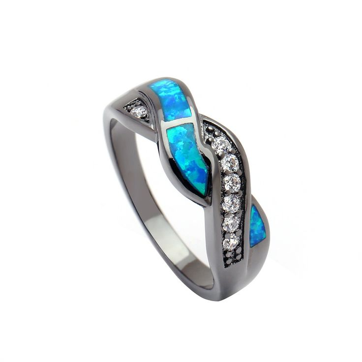 fashion black plated opal jewelry New engagement finger rings for women Wedding Gift Drop shipping blue stone setting size 6-11