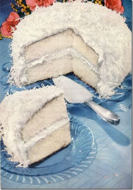 Coconut Queen Party Cake with Marshmallow FrostingCake Recipe, Retro Recipe, Coconut Queens, Parties Cake, Vintage Recipe, Marshmallows Frostings, Coconut Cakes, Party Cakes, Queens Parties