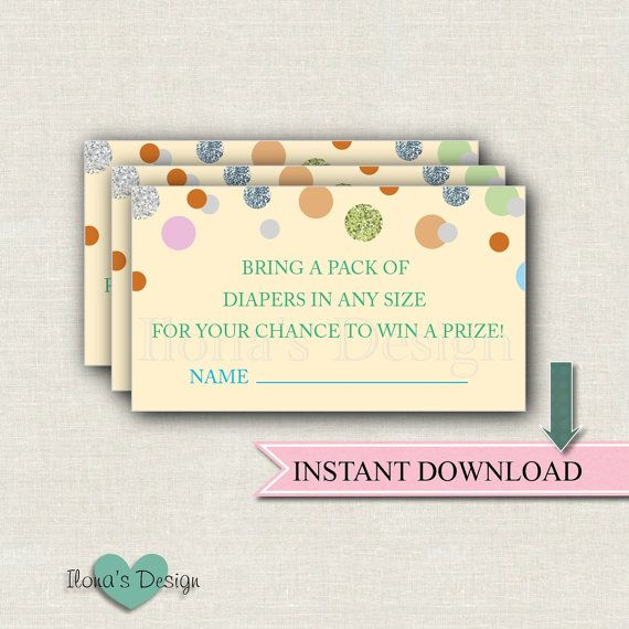 Instant Download Diaper Raffle Ticket - Baby Sprinkle Shower - Printable Baby Shower Game - Confetti Diaper Raffle