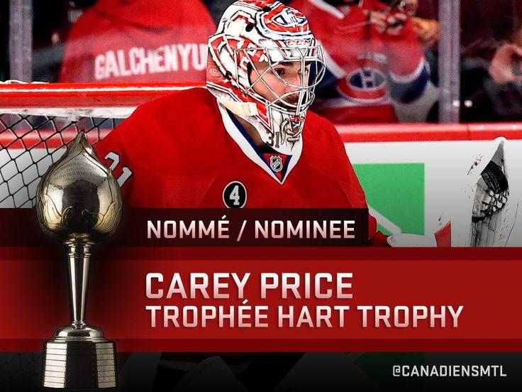 En nomination pour le joueur le plus utile à son équipe pour la saison. Carey Price