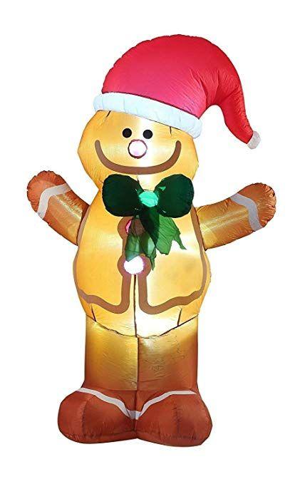 VIDAMORE 8FT Tall Christmas Inflatable Gingerbread Man Lawn Yard